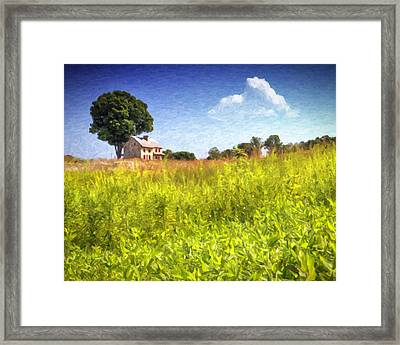 Old Farmhouse On The Hill Framed Print by Vicki Jauron