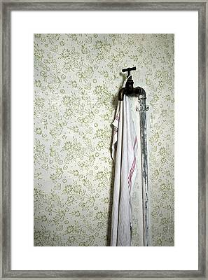 Old Fashioned Faucet And Flowery Wallpaper Framed Print by Matthias Hauser