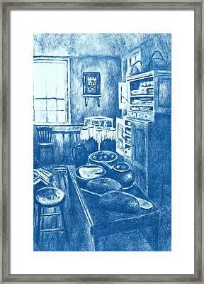 Old Fashioned Kitchen In Blue Framed Print by Kendall Kessler