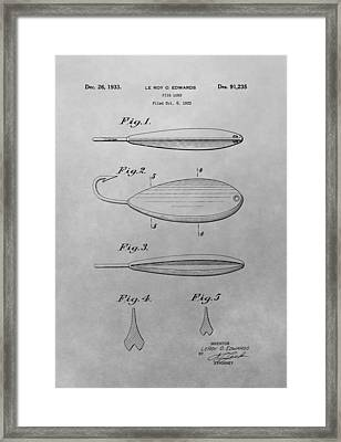 Old Fishing Lure Patent Drawing Framed Print by Dan Sproul