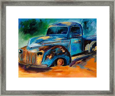 Old Ford In The Back Of The Field Framed Print by Elise Palmigiani