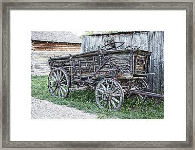 Old Freight Wagon - Montana Territory Framed Print by Daniel Hagerman