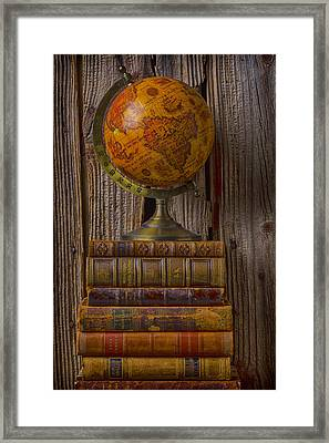 Old Globe On Old Books Framed Print by Garry Gay