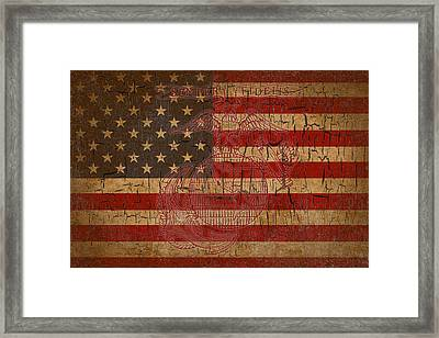 Old Glory And The Marine Corps Framed Print by Dawn Romine