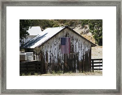 Old Glory Barn Framed Print by Barbara Snyder