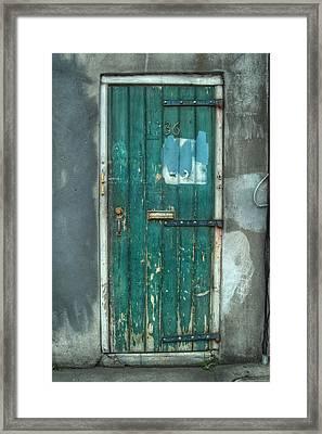 Old Green Door In Quarter Framed Print by Brenda Bryant