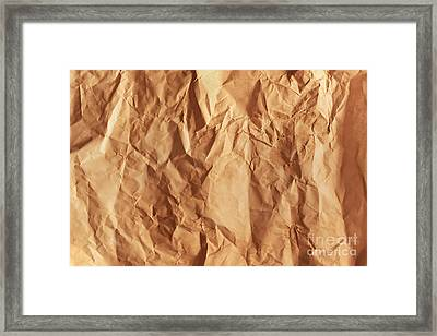 Old Grunge Creased Paper Texture. Retro Vintage Background Framed Print by Michal Bednarek