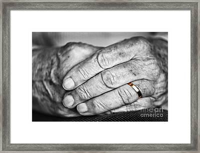 Old Hands With Wedding Band Framed Print by Elena Elisseeva