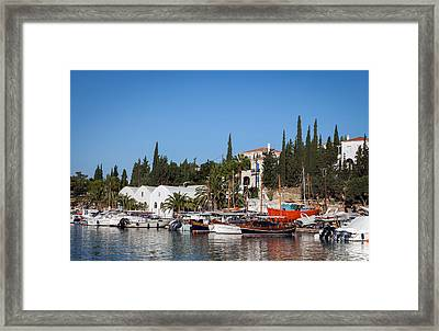 Old Harbour In Spetses Town Framed Print by Paul Cowan