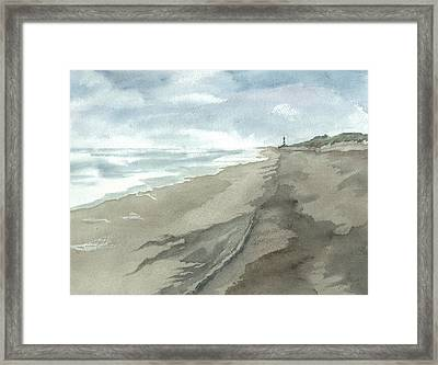 Old Hatteras Light Framed Print by Joel Deutsch