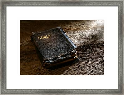 Old Holy Bible Framed Print by Olivier Le Queinec