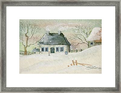 Old House In The Snow/ Painted Digitally Framed Print by Sandra Cunningham