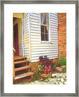 Old House Welcome Flowers Framed Print by Rebecca Korpita