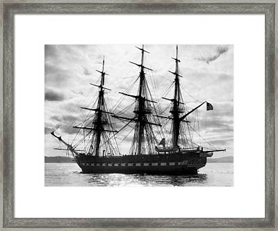 Old Ironsides In Puget Sound Framed Print by Underwood Archives