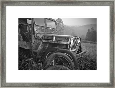 Old Jeep Framed Print by Jerry Mann