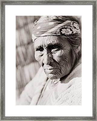 Old Klamath Woman Circa 1923 Framed Print by Aged Pixel