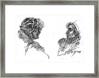 Old Ladies Talking Framed Print by Ylli Haruni