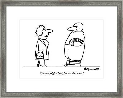 Old Lady Talks To A Beefy Quarterback Holding Framed Print by Charles Barsotti