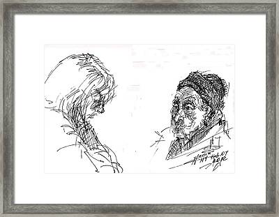 Old Lady With A Lady Framed Print by Ylli Haruni