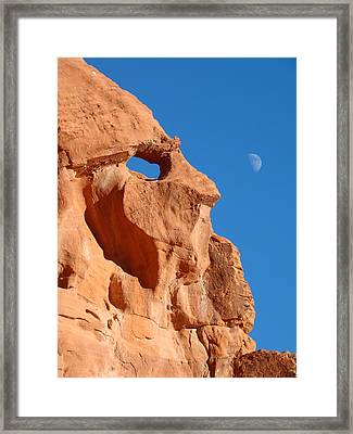 Old Man And The Moon Framed Print by Qing Yang