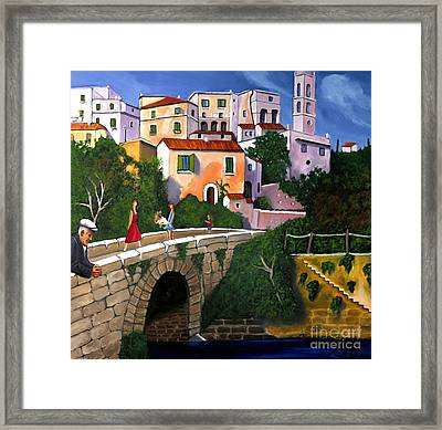 Old Man On Bridge Framed Print by William Cain