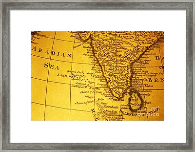 Old Map Of India And Arabian Sea Framed Print by Colin and Linda McKie