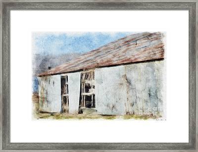 Old Metel Shed Painted Effect Framed Print by Debbie Portwood
