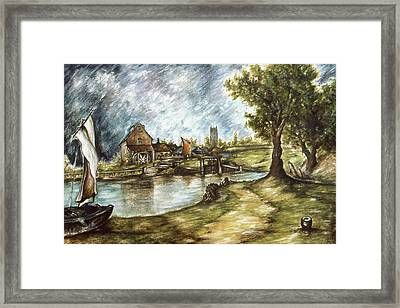 Old Mill By The Water - Impressionistic Landscape Framed Print by Art America Online Gallery