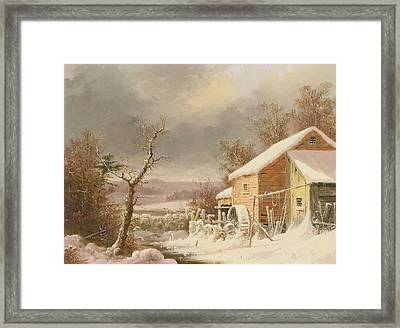 Old Mill In Winter Framed Print by George Henry Durrie
