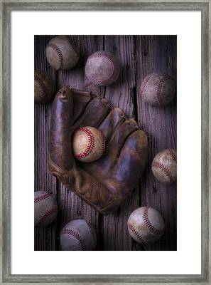 Old Mitt And Worn Baseballs Framed Print by Garry Gay