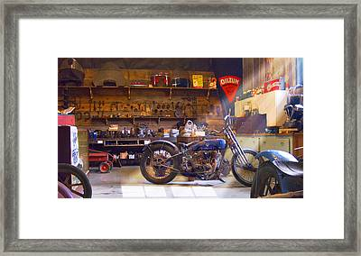 Old Motorcycle Shop 2 Framed Print by Mike McGlothlen