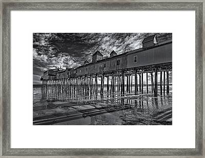 Old Orchard Beach Pier Bw Framed Print by Susan Candelario