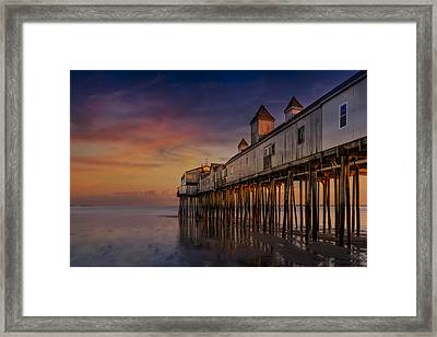 Old Orchard Beach Pier Sunset Framed Print by Susan Candelario