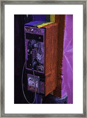 Old Pay Phone Framed Print by Garry Gay