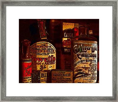 Old Pharmacy Bottles - 20130118 V2b Framed Print by Wingsdomain Art and Photography