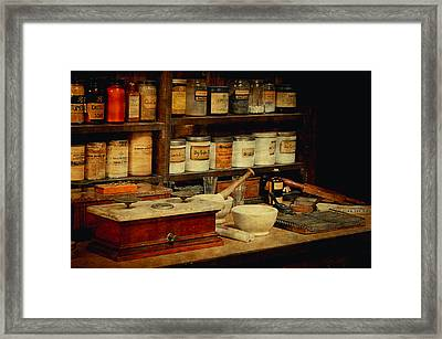 Old Pharmacy Bottles Framed Print by Maria Angelica Maira