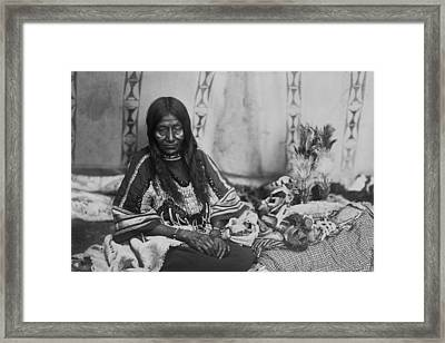 Old Piegan Woman Circa 1910 Framed Print by Aged Pixel