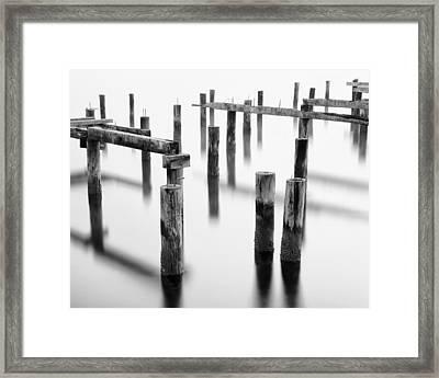 Old Pilings - Cummings Park - Puget Sound - Tacoma - Washington - January 2014 Framed Print by Steve G Bisig