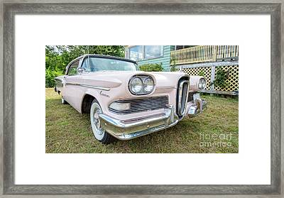 Old Pink Edsel Car In Front Of Old House Framed Print by Edward Fielding