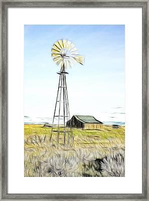 Old Ranch Windmill Framed Print by Steve McKinzie