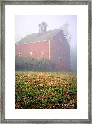 Old Red Barn In Fog Framed Print by Edward Fielding