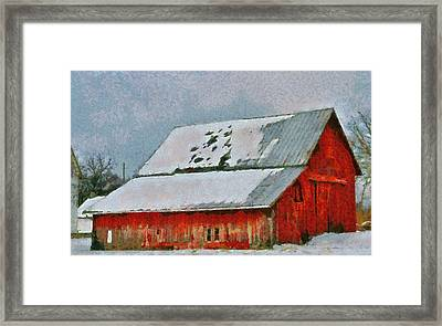 Old Red Barn In Winter Framed Print by Dan Sproul