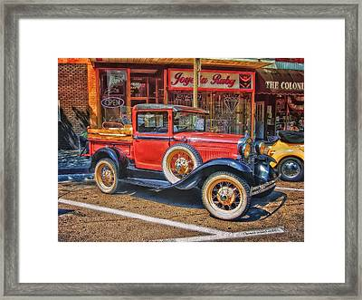 Old Red Pickup Truck Framed Print by Thomas Woolworth