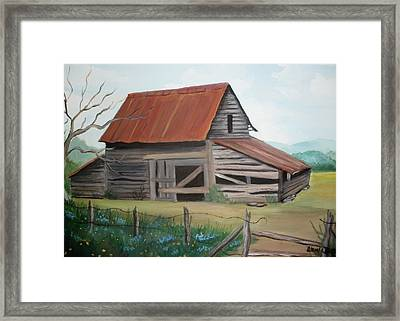 Old Red Roofed Barn Framed Print by Glenda Barrett