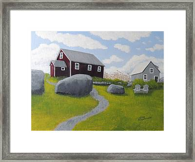 Old Red Schoolhouse Framed Print by Lisa MacDonald