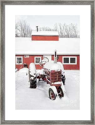 Old Red Tractor In Front Of Classic Sugar Shack Framed Print by Edward Fielding