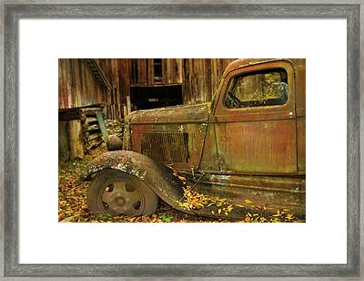 Old Rusted Truck In Autumn Framed Print by Dan Sproul