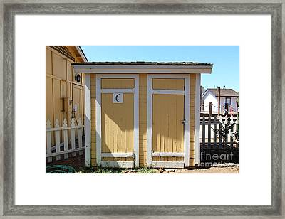 Old Sacramento California Schoolhouse Outhouse 5d25549 Framed Print by Wingsdomain Art and Photography