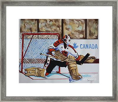Old School Goalie Framed Print by Alan Salvaggio
