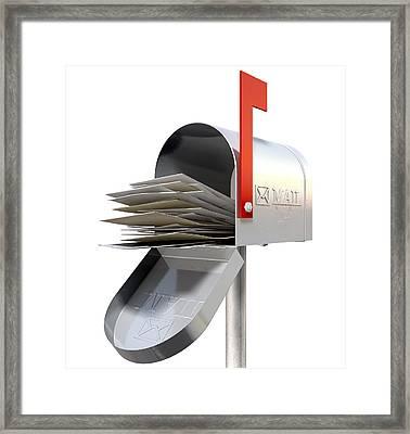Old School Retro Metal Mailbox Full Framed Print by Allan Swart